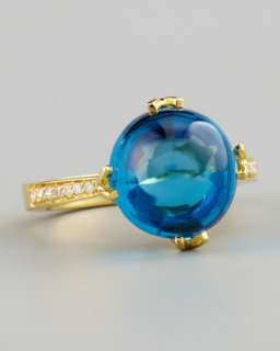 Jelly Bean Blue Topaz Ring, Yellow Gold
