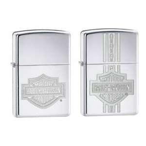 Zippo Harley Davidson Lighter Set   3D Engraved Bar and Shield Logo