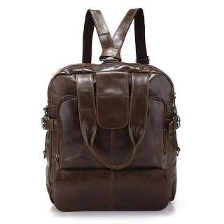 Leather Mens Fashion Laptop Backpack Travel Handbag Messenger Bag