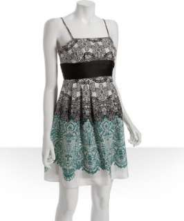 Max & Cleo teal lace printed silk pleated dress