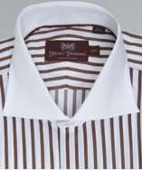 Hickey Freeman brown striped cotton french cuff spread collar dress
