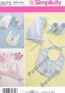 Pattern Sewing Simplicity Toddler Infant Baby Girl Boy Bonnets Booties