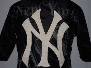 NEW YORK YANKEES MLB EMBROIDERED TATTOO MECHANIC STYLE BASEBALL SHIRT
