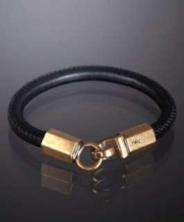 Yves Saint Laurent black lambskin Roady leather bracelet