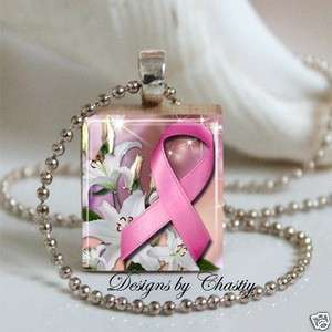 Cancer Awareness Pink Ribbon Scrabble Charm Pendant Necklace