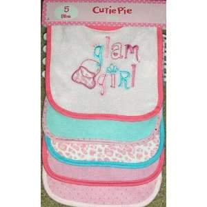 Cutie Pie Baby 5 Pack Baby Bibs Glam Girl Appliques/Embroidered Pink