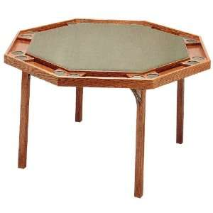 Solid Ranch Oak Octagonal Poker Table with Green Vinyl Top