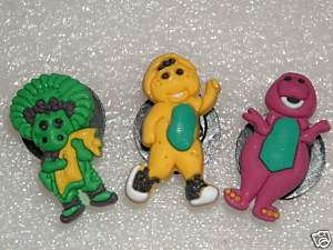 PBS BARNEY BJ BABY BOP CLOG SHOE CHARMS 3PC SET