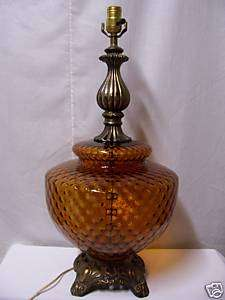 Vintage Stunning Amber Glass Table Lamp 25 Tall