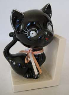Black Kitty Cat Bookend Book End Metal Metallic Painted