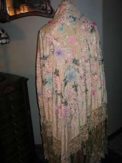 Exquisite Antique 1920 30s Hand Embroidery Silk Shawl~Piano Scarf